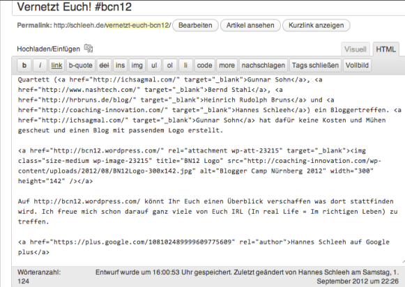 Eintrag der Autorenschaft im HTML-Code des Blog-Artikels in WordPress