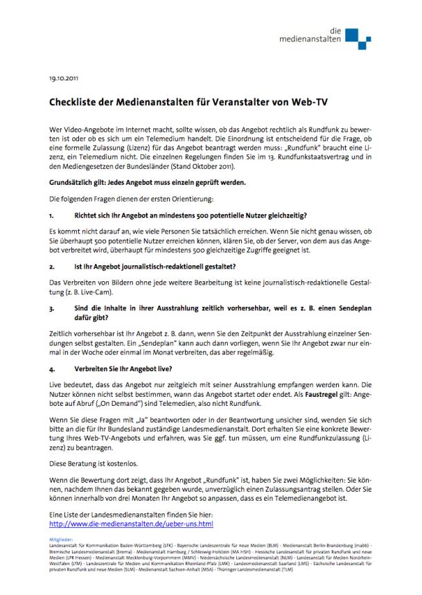 Checkliste der Medienanstalten