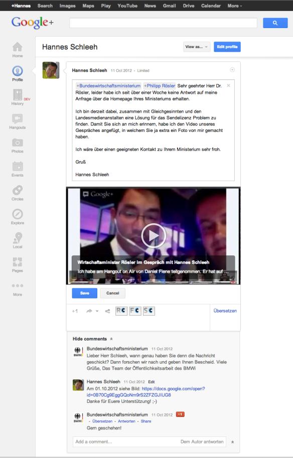 Korrespondenz mit BMWi auf Google+