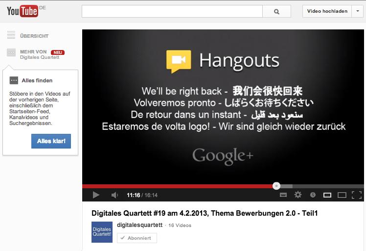 Google plus Hangout on Air Ausfall in der Sendung des Digitalen Quartetts am 04.02.2013