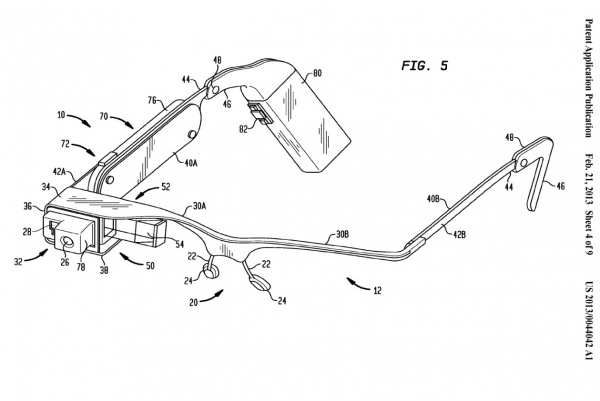 Abbildung Google Glass aus der US-Patenterteilung