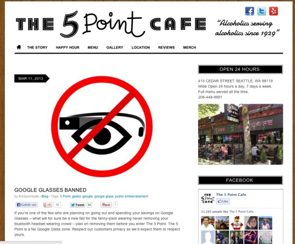 5 Point Cafe Seattle Google Glass Verbot