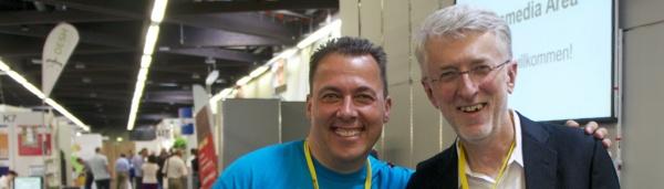 Jeff Jarvis und Hannes Schleeh auf den Mailingtagen 2013 in der Crossmedia Area powerded by acquisa