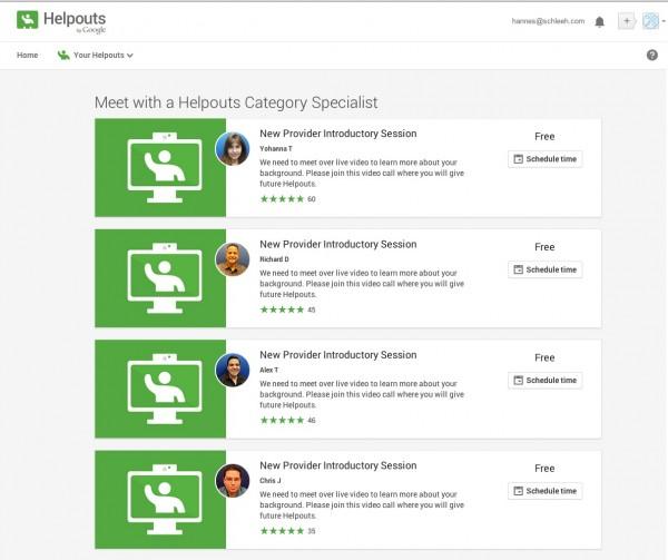 Google Spezialisten für die Live Überprüfung meiner Fähigkeiten