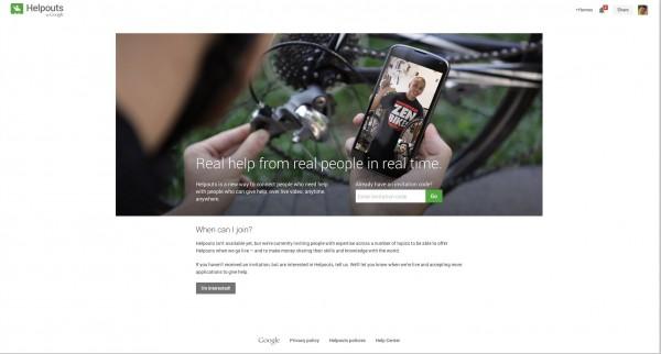Helpout Startbildschirm