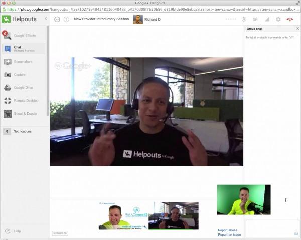 Screenshot Google Helpout Session zur Überprüfung meiner Qualifikation