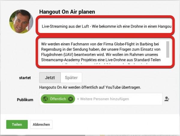 5. Fügen Sie den Titel Ihrer Hangout on Air Sendung und eine Beschreibung ein