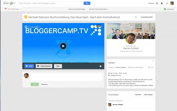 Planung von Hangout on Air in Google Plus