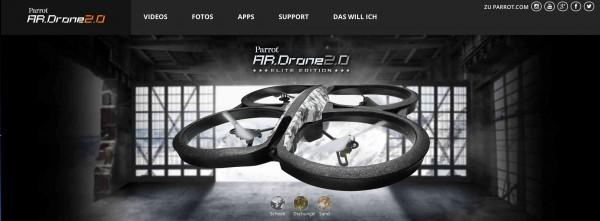 Parrot AR Drohne 2.0 Screenshot Webseite