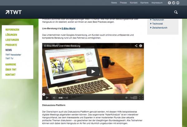 Screenshot TWT-Artikel über Einsatz von Hangout on Air