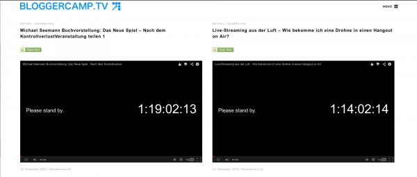 Zwei zukünftige Sendungen auf bloggercamp.tv eingebettet zeigen die Zeit an, bis zum Start nach dem Format Tag Stunden Minuten Sekunden