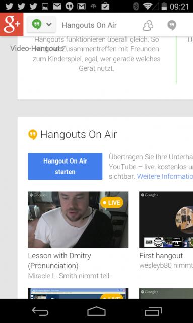 Einrichten des Hangout on Air am Smartphone