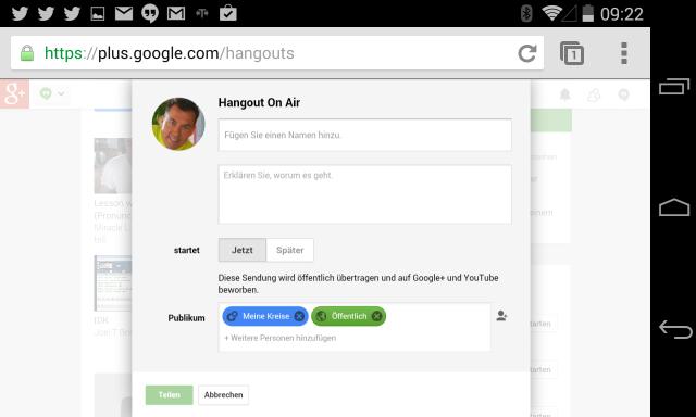 Einrichten eines Hangout on Air am Smartphone