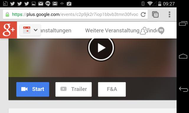 Start des Hangout on Air geht nur im Browser nur über den Start Button auf der Google Plus Event Seite