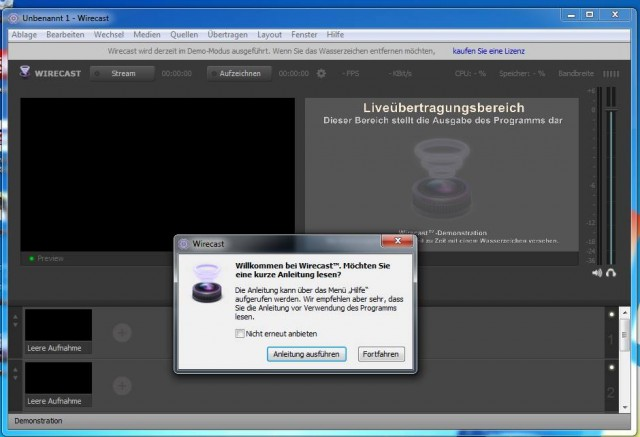 Windows Wirecast Screenshot nach der Installation