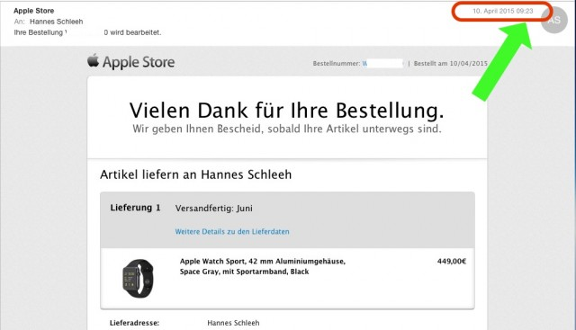 Bestellbestätigung Apple Watch