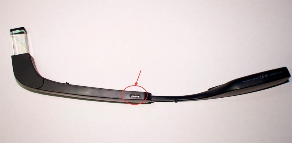 Google Glass Explorer Edition Micro USB Anschluss