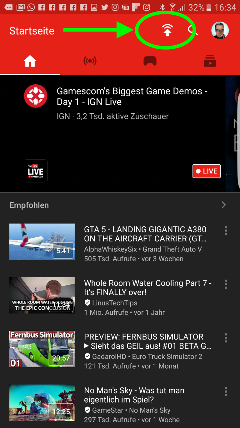 YouTube Gaming Button zum Livestreaming
