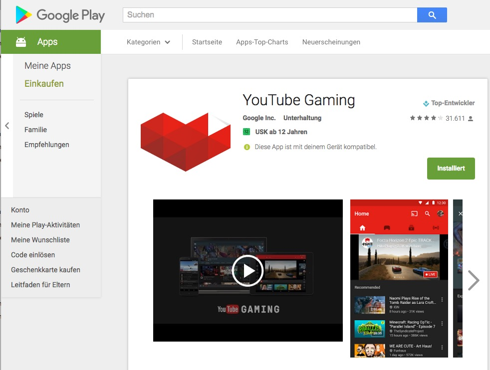 YouTube Gaming im Google Play Store