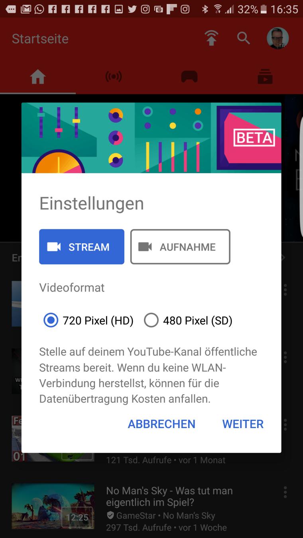 YouTube Gaming Stream oder Aufnahme