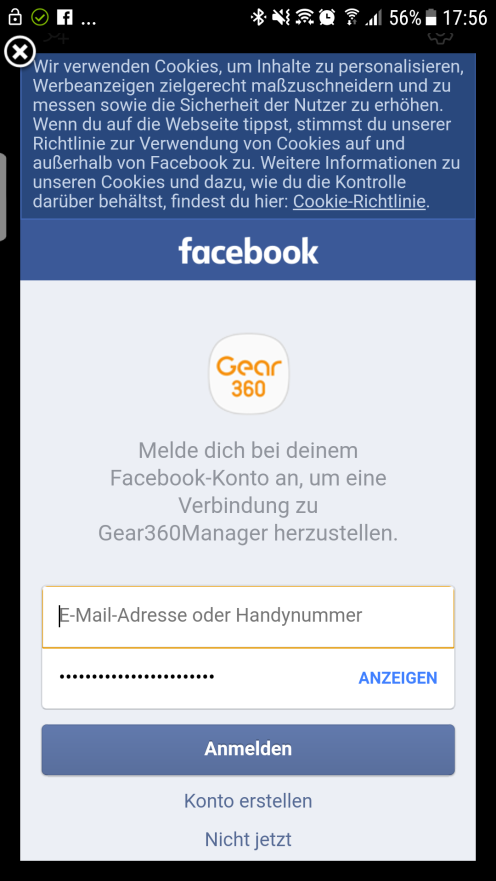Screenshot Anmeldung Facebook Live