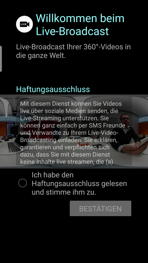 Screenshot Anmeldung YouTube Live Android